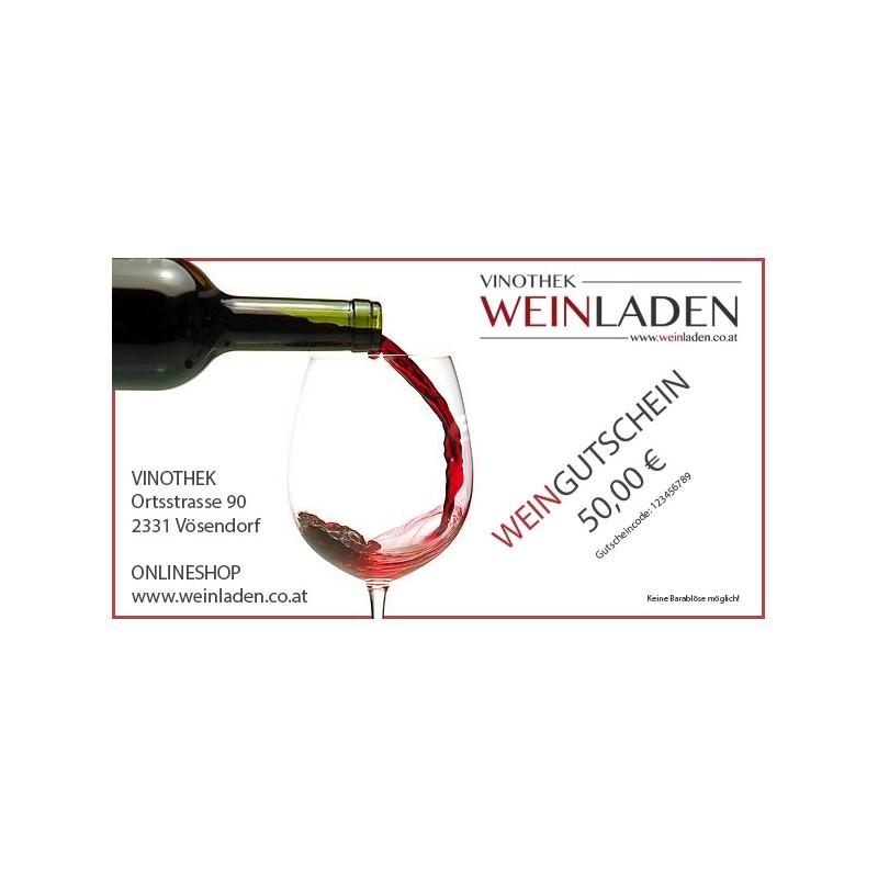 Weingutschein, Wert 50 Euro